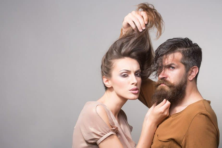 Couple Playful Photo Pulling Hair