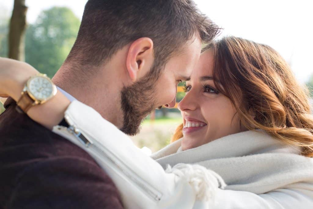 Couple Staring Deep Into Each Others Eyes