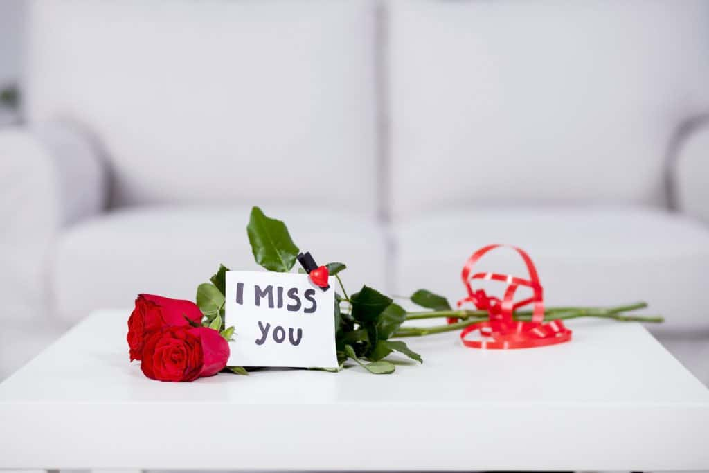 I Miss You Card With A Flower