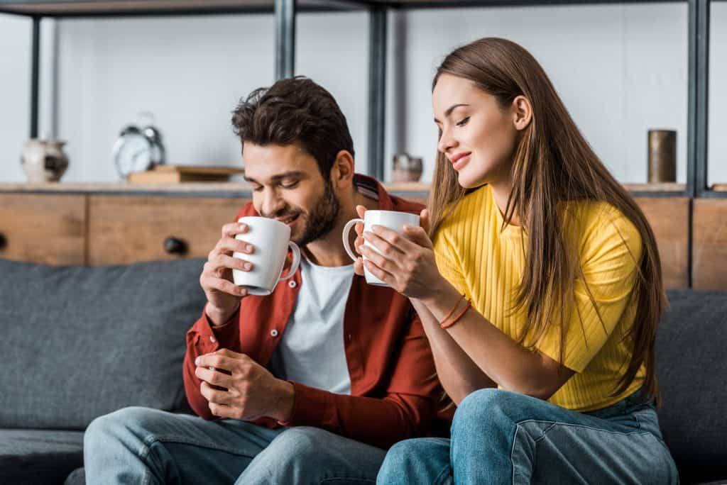 Couple Talking Having Coffee