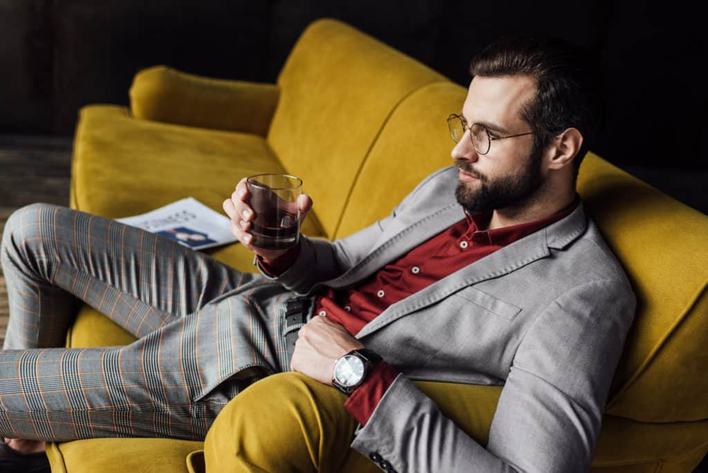 Man Drinking Wine Thinking